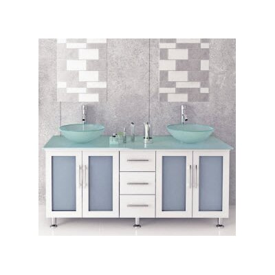 Lune Glass 59 Double Bathroom Vanity Set