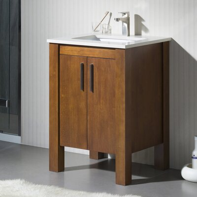 Pathan 25 Vanity Set with Quartz Stone Base Finish: Dark Walnut, Top Finish: Beige