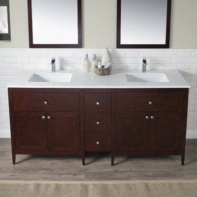 Watson 72 Double Vanity Set Top Finish: White Quartz, Base Finish: Dark Walnut