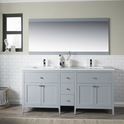 Watson 72 Double Vanity Set Top Finish: White Quartz, Base Finish: Grey