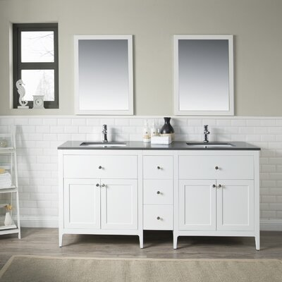 Watson 72 Double Vanity Set Top Finish: Gray Quartz, Base Finish: White