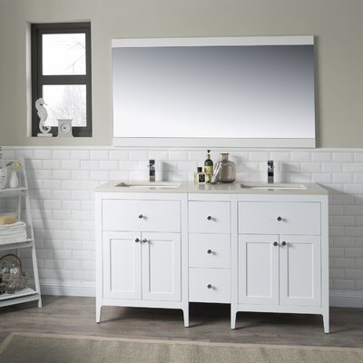 Watson 60 Double Vanity Set Top Finish: Beige Quartz, Base Finish: White
