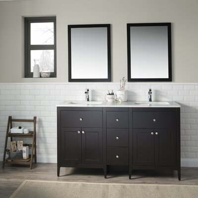 Watson 60 Double Vanity Set Top Finish: Calacatta Quartz, Base Finish: Espresso