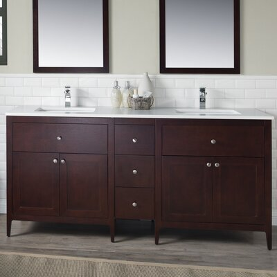 Watson 72 Double Vanity Set Top Finish: Beige Quartz, Base Finish: White
