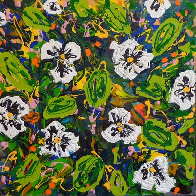 "'Pansy Dance' Painting Print on Wrapped Giclee Canvas Size: 20"" H x 20"" W 37012342020"