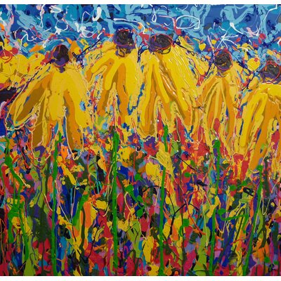 """'Coneflower Chaos' Painting Print on Wrapped Giclee Canvas Size: 20"""" H x 20"""" W 37101922020"""