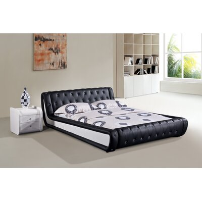 Upholstered Platform Bed Size: Queen, Color: Black and White