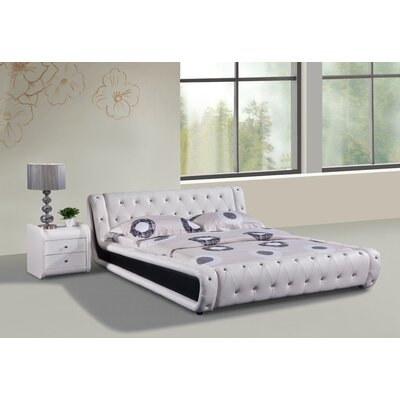 Upholstered Platform Bed Size: Queen, Color: White and Black