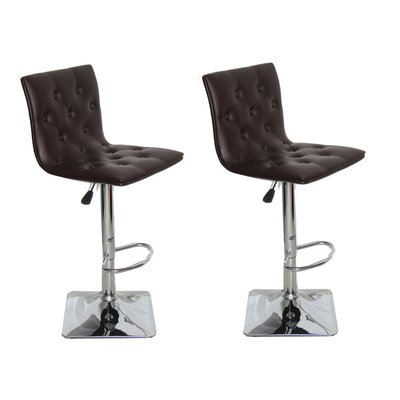 Adjustable Height Swivel Bar Stool Upholstery: Chocolate