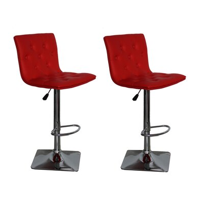 Adjustable Height Swivel Bar Stool Upholstery: Red