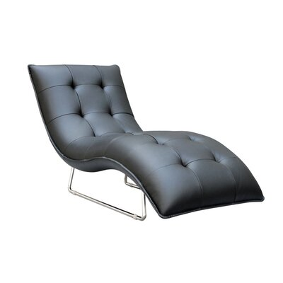 Hill Living Grain Leather Chaise Lounge Upholstery: Black