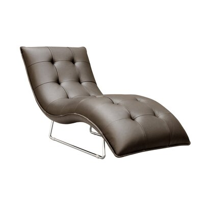 Hill Living Grain Leather Chaise Lounge Upholstery: Chocolate