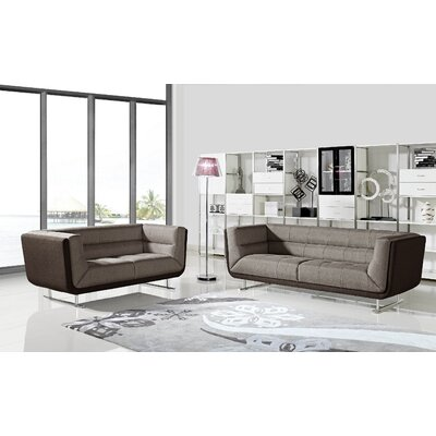 Sarah Sofa and Loveseat Set Upholstery: Brown