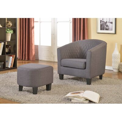 Isabella Barrel Chair and Ottoman Color: Gray