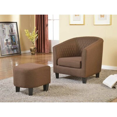 Isabella Barrel Chair and Ottoman Color: Brown
