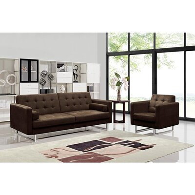 Dona Fabric Modern Sofa and Chair Set Upholstery: Brown