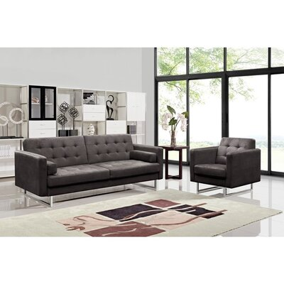 Dona Fabric Modern Sofa and Chair Set Upholstery: Grey