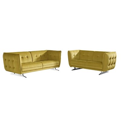 Clair 2 Piece Living Room Set Upholstery: Yellow