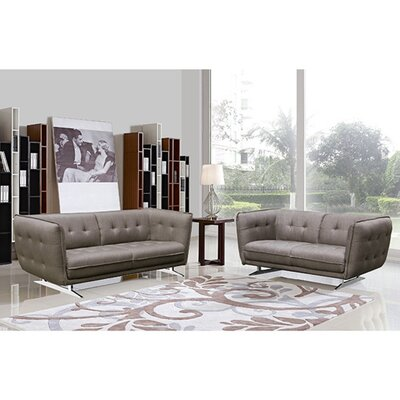 Clair Fabric 2-piece Sofa and Loveseat Set Upholstery: Grey