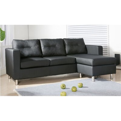 Dona Reversible Sectional Upholstery: Black