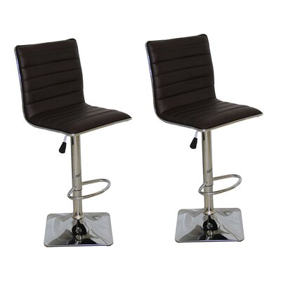 Adjustable Height Swivel Bar Stool Upholstery: Chocolate