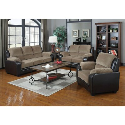 3 Piece Living Room Set Upholstery: Light Brown