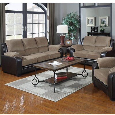 2 Piece Sofa and Loveseat Set Upholstery: Light Brown