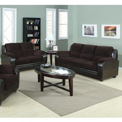 2 Piece Sofa and Loveseat Set Upholstery: Chocolate