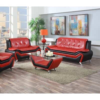 Elzada 2 Piece Cushion Back Living Room Set Upholstery: Red/Black