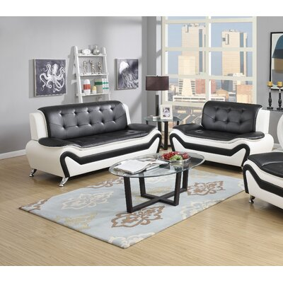 Elzada 2 Piece Cushion Back Living Room Set Upholstery: White/Black
