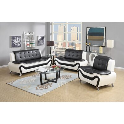 Elzada 3 Piece Contemporary Living Room Set Upholstery: White