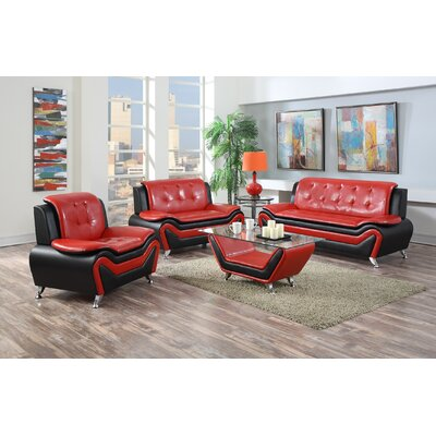 Elzada 3 Piece Contemporary Living Room Set Upholstery: Red