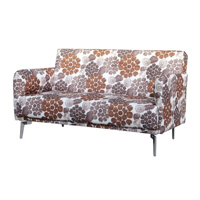 Pattern Print Fabric Modern Loveseat Upholstery: Brown