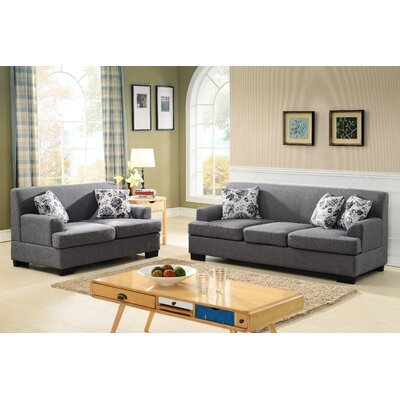 Modern Fabric 2 Piece Sofa and Loveseat Set Upholstery: Grey