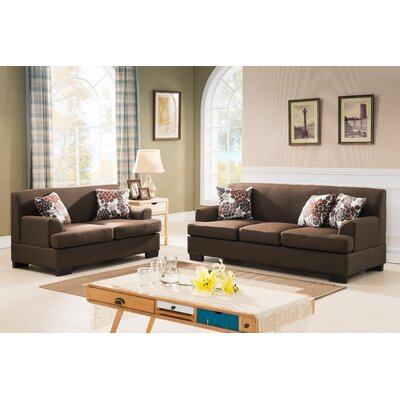Modern Fabric 2 Piece Sofa and Loveseat Set Upholstery: Brown