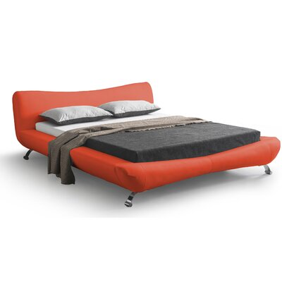 Upholstered Platform Bed Size: Queen, Color: Red