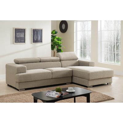 Sectional Upholstery: Light Brown, Orientation: Right Hand Facing