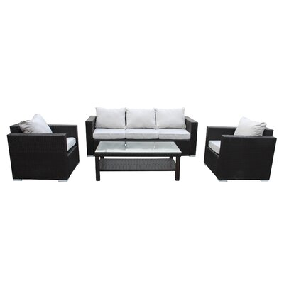 Modern 4 Piece Deep Seating Group with Cushion