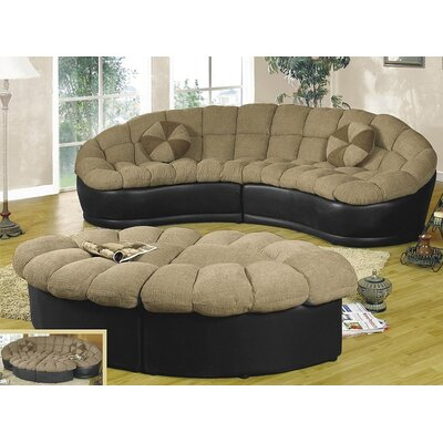 Papasan Sectional with Ottoman Color: Beige