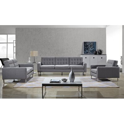 Angela Sofa, Loveseat and Chair Set Color: Grey