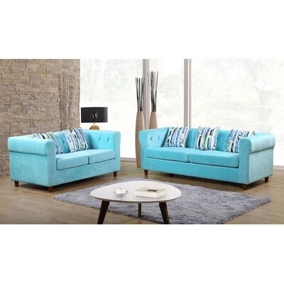 Obscure 2 Pieces Sofa and Loveseat Set Color: Blue