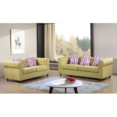 Obscure 2 Pieces Sofa and Loveseat Set Color: Yellow