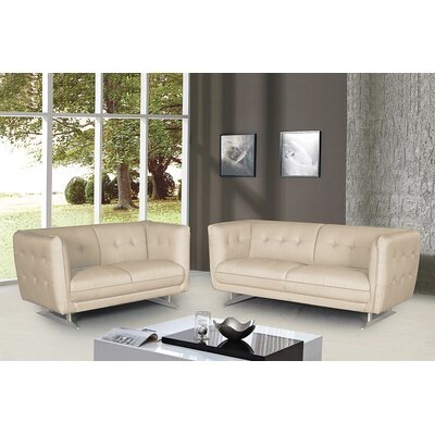 2 Pieces Sofa and Loveseat Set Color: Beige