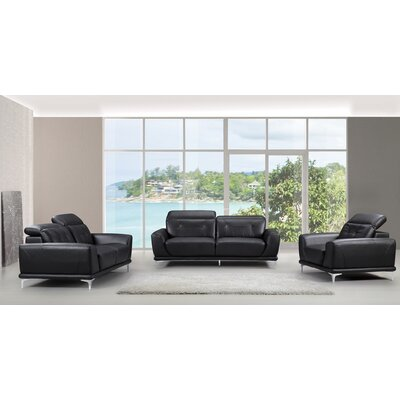 3 Piece Sofa, Loveseat and Chair Set Color: Black