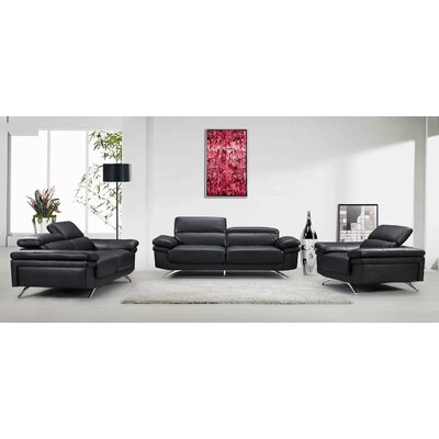 3 Piece Sofa, Loveseat, Chair Set Color: Black
