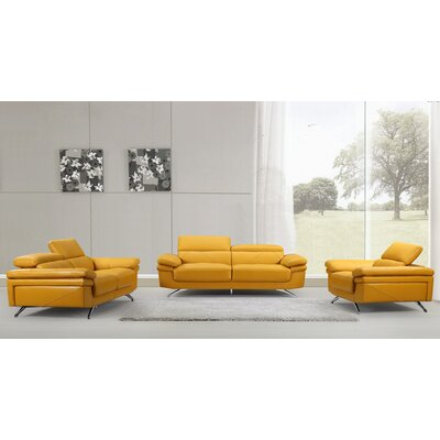 3 Piece Sofa, Loveseat, Chair Set Color: Gold