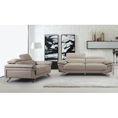 Morden 2 Piece Living Room Set Color: Light Gray