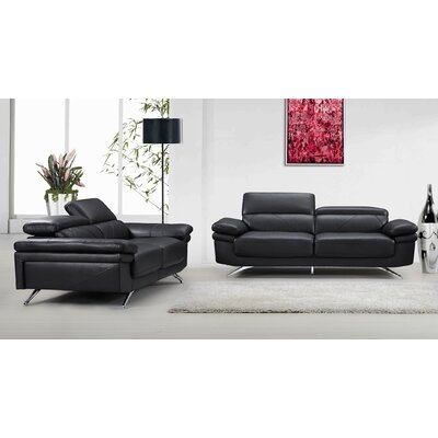 Morden 2 Piece Sofa and Loveseat Set Color: Black