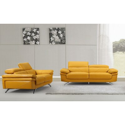 Morden 2 Piece Sofa and Loveseat Set Color: Gold