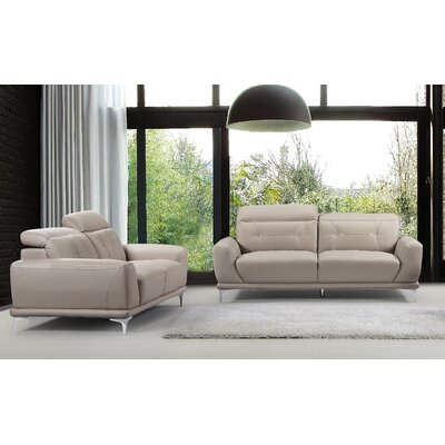 Morden 2 Piece Sofa and Loveseat Set Color: Light Gray
